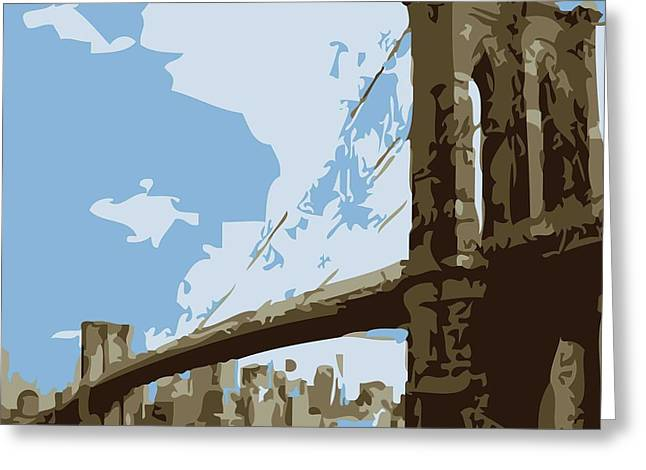 True Melting Pot Greeting Cards - Brooklyn Bridge Color 6 Greeting Card by Scott Kelley