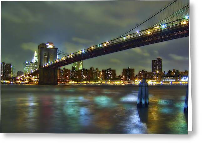 City Photographs Greeting Cards - Brooklyn Bridge Greeting Card by Evelina Kremsdorf