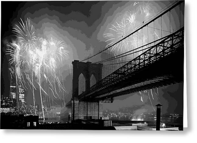 Capital Of The Universe Greeting Cards - Brooklyn Bridge Fireworks BW16 Greeting Card by Scott Kelley