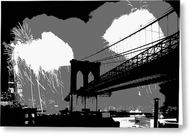 Capital Of The Universe Greeting Cards - Brooklyn Bridge Fireworks BW3 Greeting Card by Scott Kelley