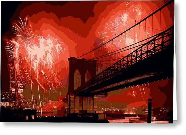 Capital Of The Universe Greeting Cards - Brooklyn Bridge Fireworks Color 16 Greeting Card by Scott Kelley