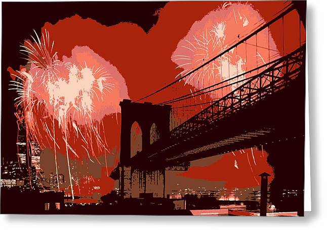 Capital Of The Universe Greeting Cards - Brooklyn Bridge Fireworks Color 6 Greeting Card by Scott Kelley