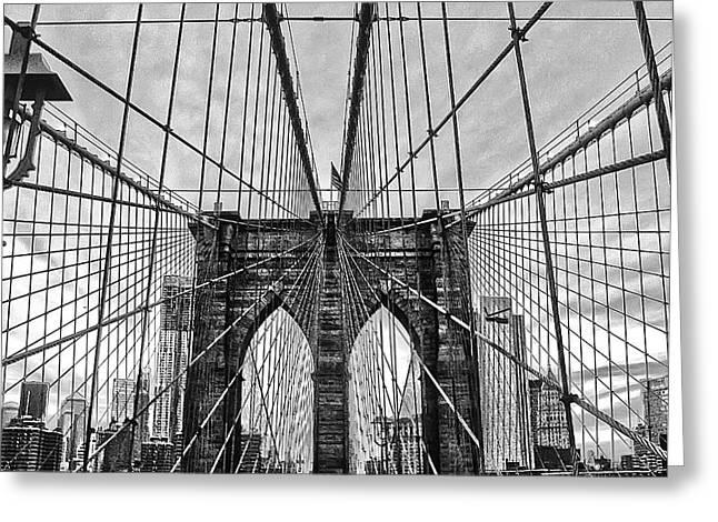 Brooklyn Bridge Lines Greeting Card by Artistic Photos