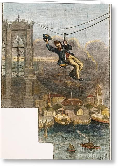 Brooklyn Bridge Mechanic Greeting Card by Granger