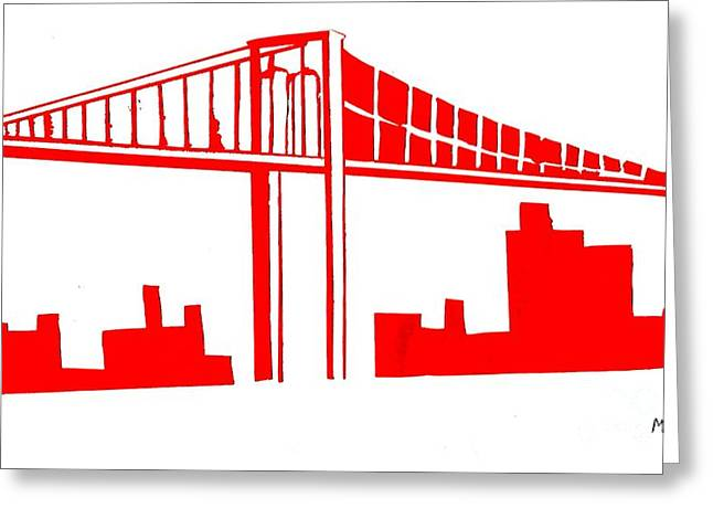 Marks Mixed Media Greeting Cards - Brooklyn Bridge Greeting Card by Mike Grubb