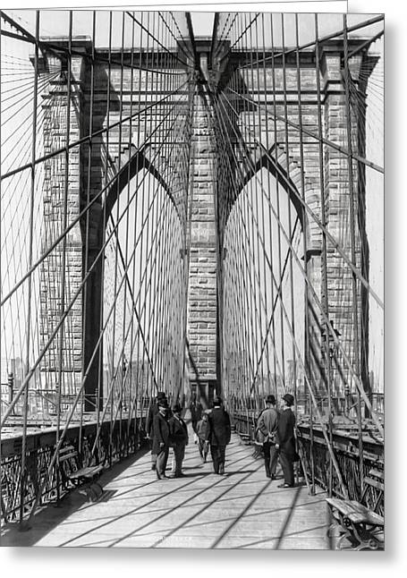 Brooklyn Promenade Greeting Cards - Brooklyn Bridge Promenade 1898 - New York Greeting Card by Daniel Hagerman