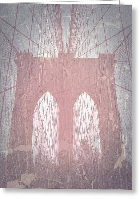 Old Digital Greeting Cards - Brooklyn Bridge Red Greeting Card by Naxart Studio