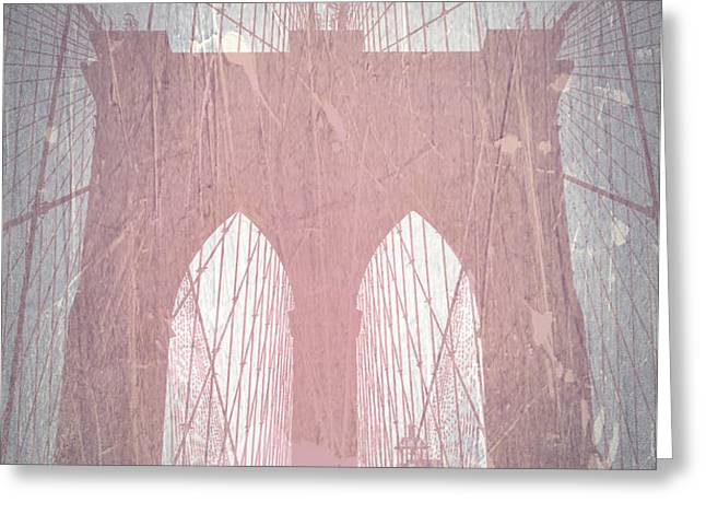 Brooklyn Bridge Red Greeting Card by Naxart Studio