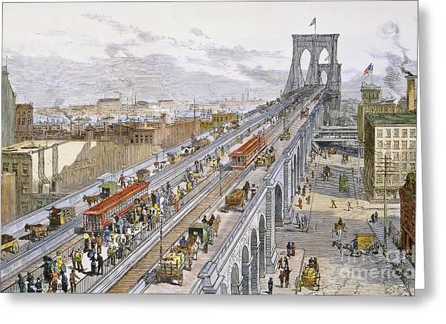 Horsedrawn Greeting Cards - Brooklyn Bridge Traffic Greeting Card by Granger