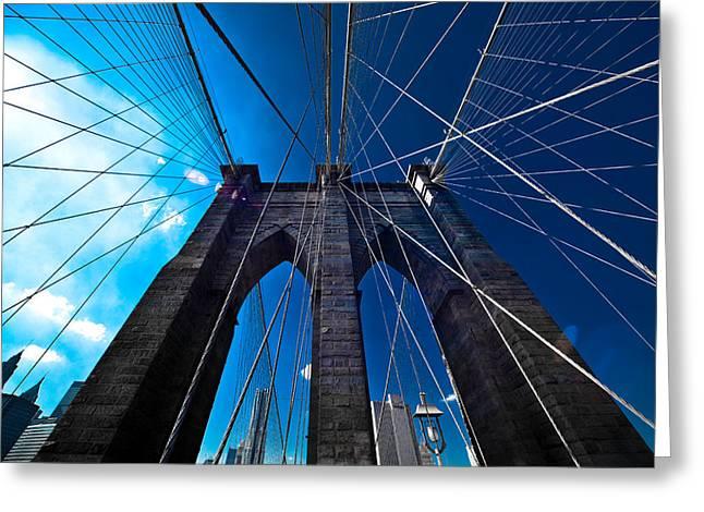 Gotham City Greeting Cards - Brooklyn Bridge Vertical Greeting Card by Thomas Splietker