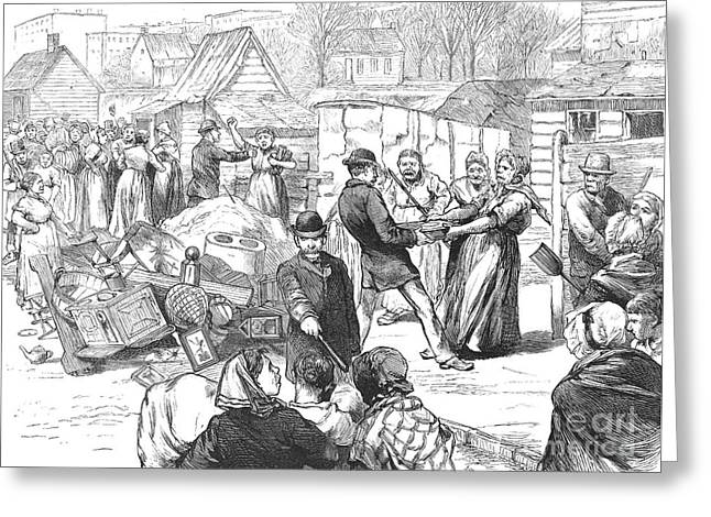 Eviction Greeting Cards - Brooklyn: Eviction, 1883 Greeting Card by Granger