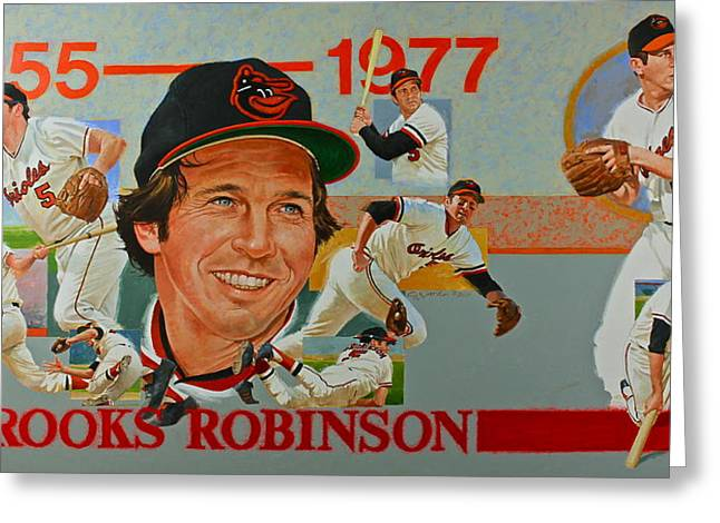 Brook Mixed Media Greeting Cards - Brooks Robinson Greeting Card by Cliff Spohn