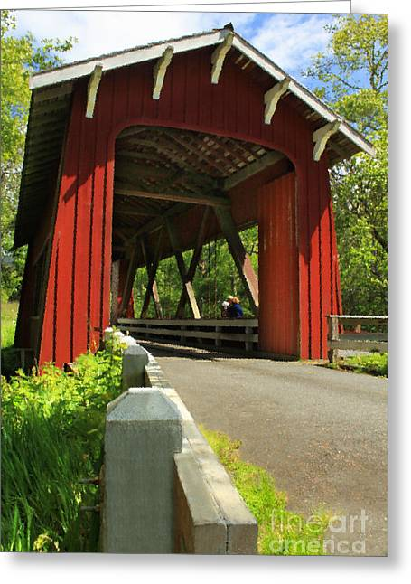 Covered Bridge Greeting Cards - Brookwood Covered Bridge Greeting Card by James Eddy