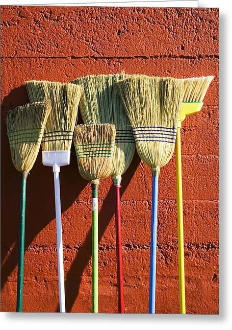 Lean Greeting Cards - Brooms leaning against wall Greeting Card by Garry Gay