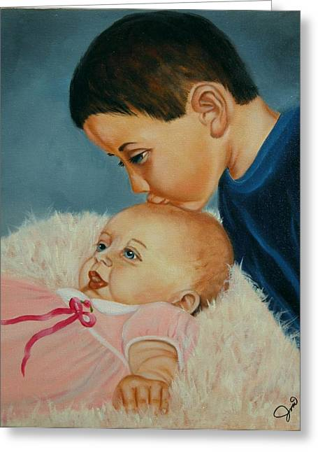 Children Greeting Cards - Brother and Sister Greeting Card by Joni McPherson