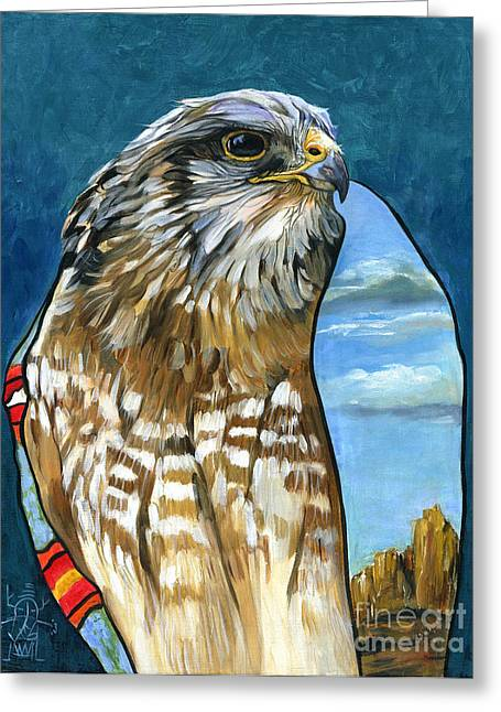 Shamanism Greeting Cards - Brother Hawk Greeting Card by J W Baker