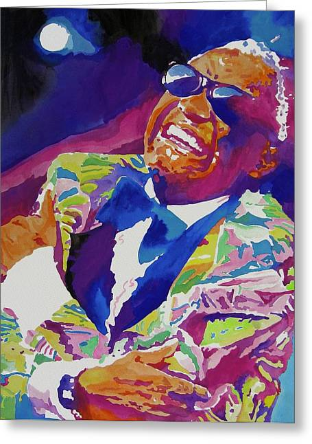 Rhythm Greeting Cards - Brother Ray Charles Greeting Card by David Lloyd Glover