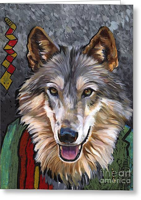 Shamanism Greeting Cards - Brother Wolf Greeting Card by J W Baker