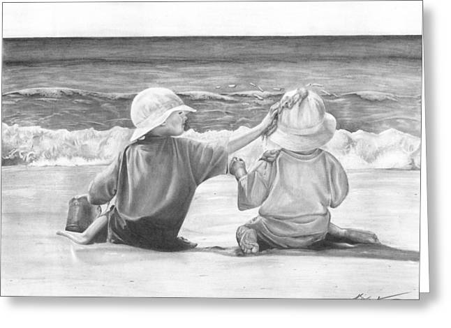On The Beach Drawings Greeting Cards - Brotherly Love Greeting Card by Brian Christensen