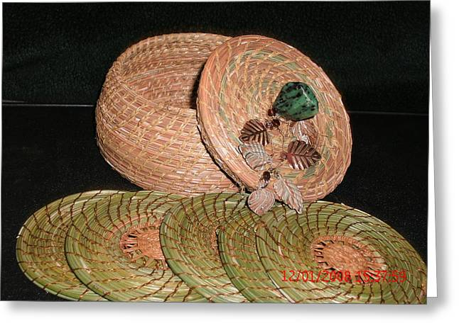 Pine Needles Mixed Media Greeting Cards - Brown Basket With Coasters Greeting Card by Georgiana and Russell Barton