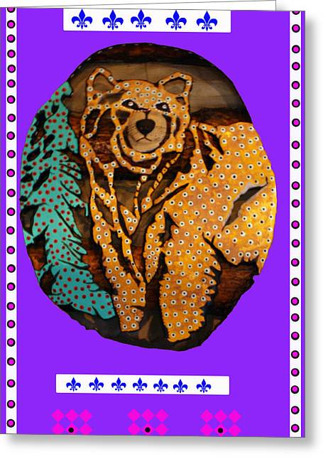 Log Cabin Mixed Media Greeting Cards - Brown Bear In My Cabin Greeting Card by Robert Margetts
