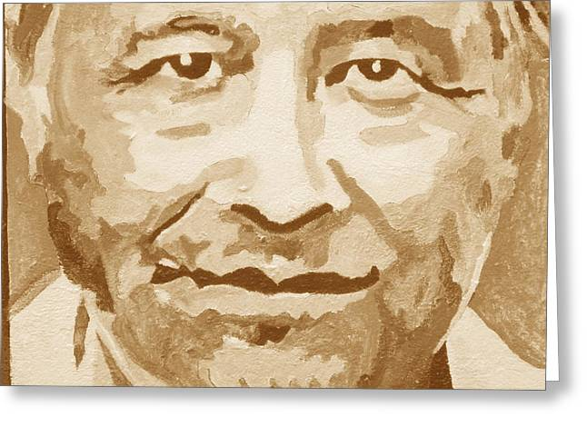 Cesar Chavez Greeting Cards - Brown Cesar Greeting Card by Randy Segura