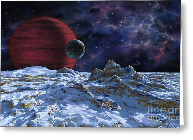Brown Dwarf With Planet And Moon Greeting Card by Lynette Cook