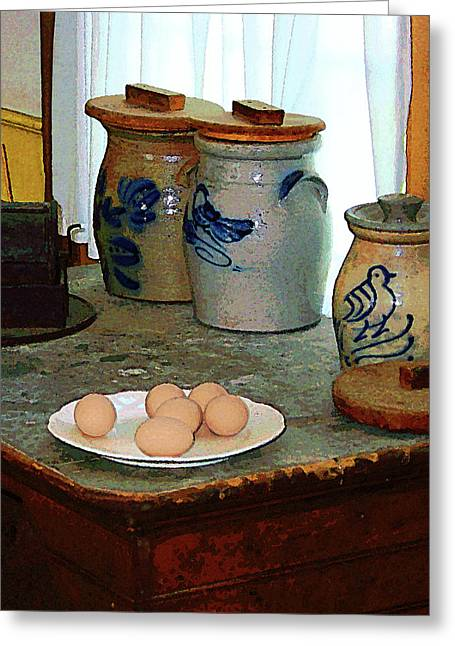 Egg Greeting Cards - Brown Eggs and Ginger Jars Greeting Card by Susan Savad