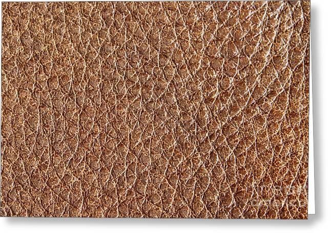 Abstract Style Greeting Cards - Brown leather grain Greeting Card by Blink Images