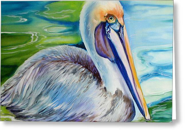 Original Oil Paintings Greeting Cards - BROWN PELICAN of LOUISIANA Greeting Card by Marcia Baldwin