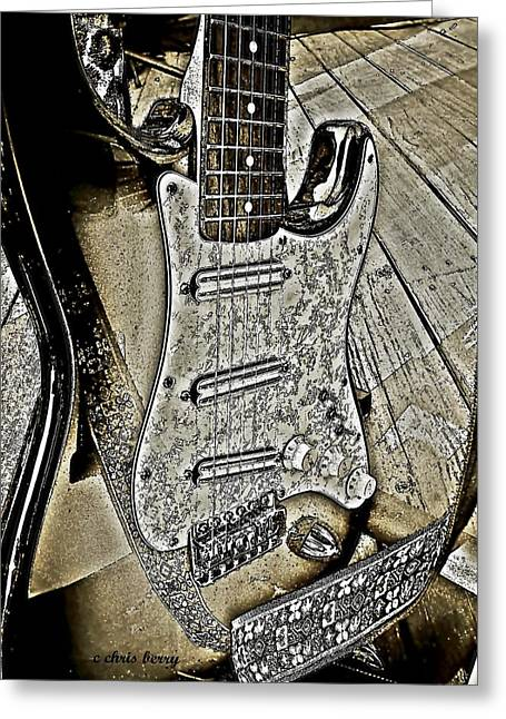 """six String"" Greeting Cards - Brown Pencil Electric Guitar Greeting Card by Chris Berry"