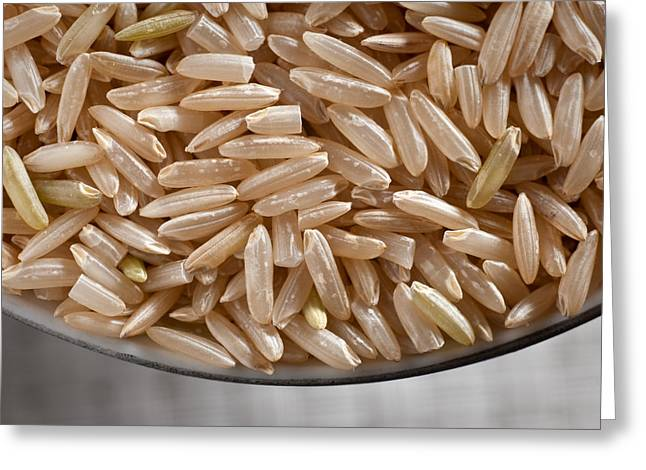 Studio Lighting Greeting Cards - Brown Rice in Bowl Greeting Card by Steve Gadomski