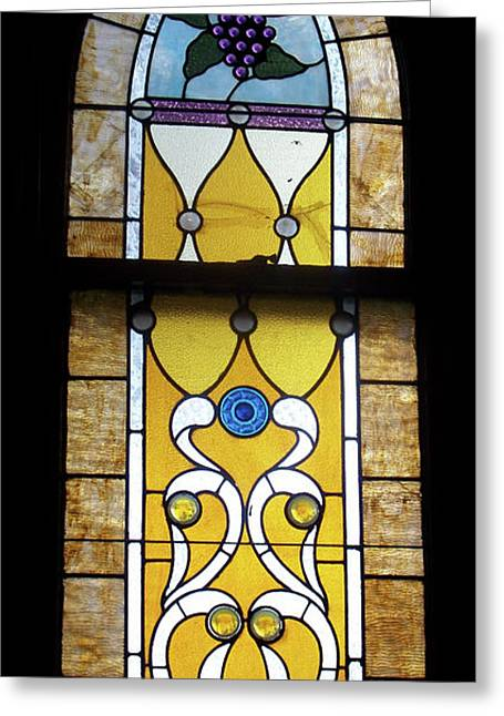 Coloured Glass Greeting Cards - Brown Stained Glass Window Greeting Card by Thomas Woolworth