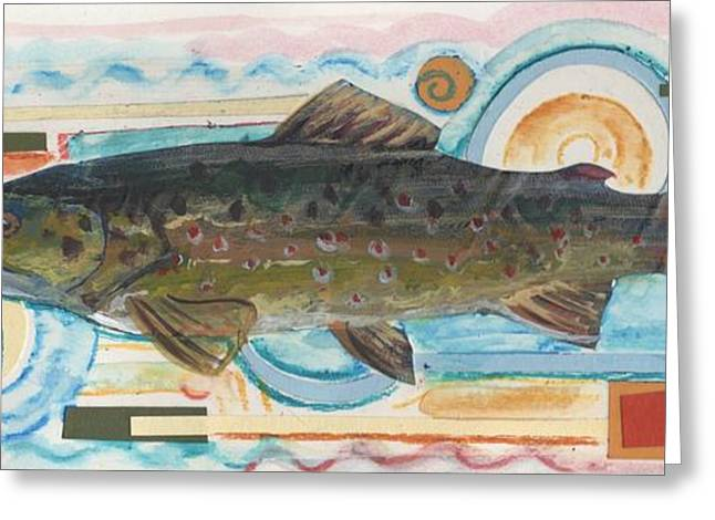 Trout Mixed Media Greeting Cards - Brown Trout 1 Greeting Card by Michelle Grove