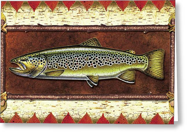 Trout Fishing Paintings Greeting Cards - Brown Trout Lodge Greeting Card by JQ Licensing