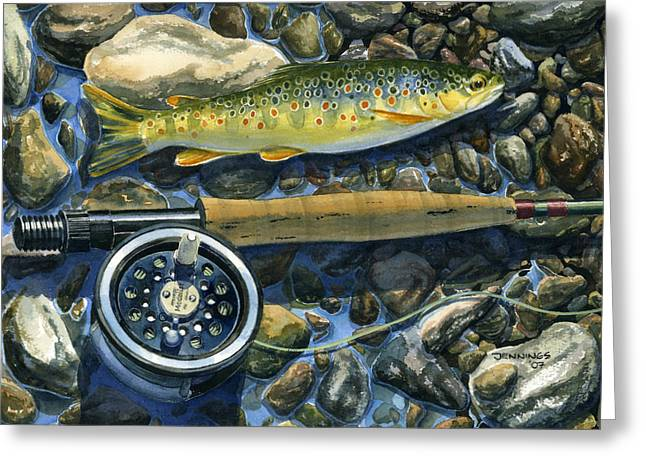 Fishing Creek Greeting Cards - Brown Trout Rush Creek Greeting Card by Mark Jennings
