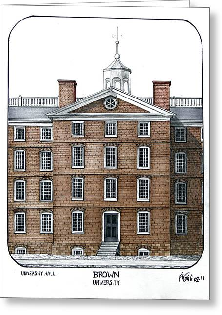 College Campus Buildings Drawings Greeting Cards - Brown University Greeting Card by Frederic Kohli