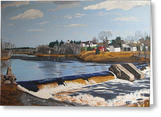 Stella Sherman Greeting Cards - Brownville Dam with Village Greeting Card by Stella Sherman