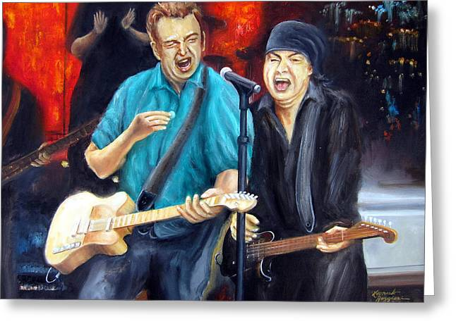 Steve Van Zandt Greeting Cards - Bruce and Steven at the Apollo Greeting Card by Leonardo Ruggieri