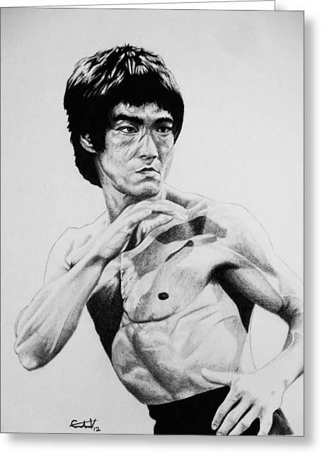 Carlos Lee Greeting Cards - Bruce Lee Greeting Card by Carlos Velasquez Art