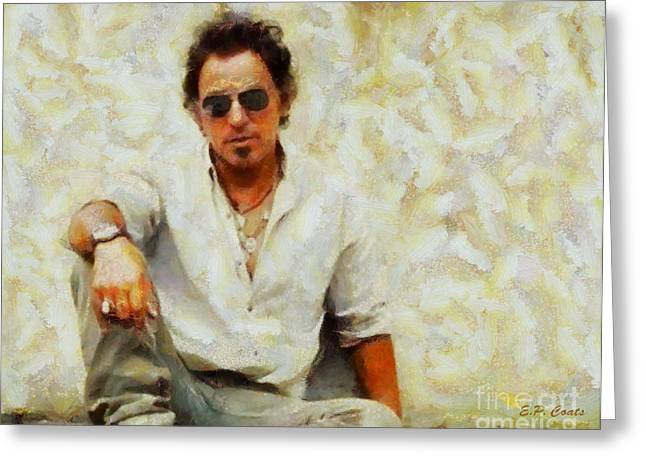 Recently Sold -  - Bruce Springsteen Paintings Greeting Cards - Bruce Springsteen Greeting Card by Elizabeth Coats
