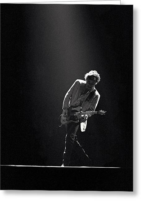 Black Greeting Cards - Bruce Springsteen in the Spotlight Greeting Card by Mike Norton