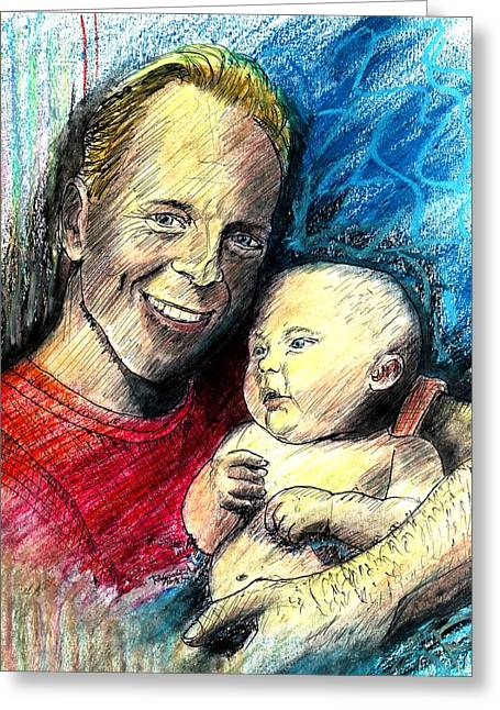 Pen And Ink Realism Greeting Cards - Bruce Willis Oil Pastel Portrait Greeting Card by Romy Galicia