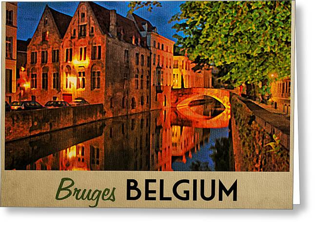 Bruges Greeting Cards - Bruges Belgium At Night Greeting Card by Flo Karp
