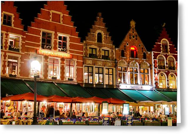 Night Cafe Greeting Cards - Brugge At Night Greeting Card by David Waldo