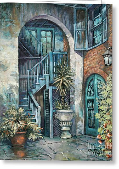 Courtyard Greeting Cards - Brulatour Courtyard Greeting Card by Dianne Parks