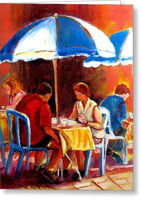 Carole Spandau Art Of Hockey Paintings Greeting Cards - Brunch At The Ritz Greeting Card by Carole Spandau