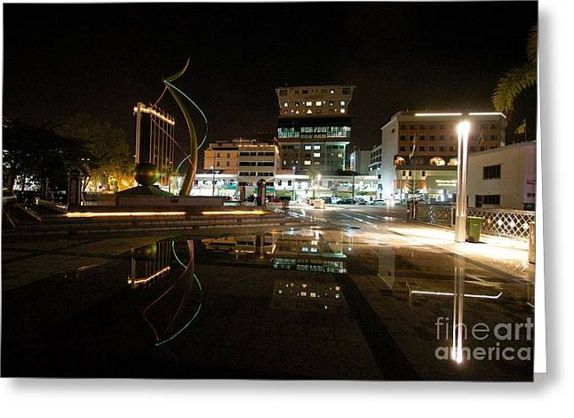 City Lights Pyrography Greeting Cards - Brunei at night  Greeting Card by Gary Bridger