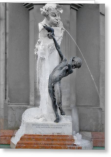 Comical Greeting Cards - Brunnenbuberl - Boy at the fountain -  Munich Germany Greeting Card by Christine Till