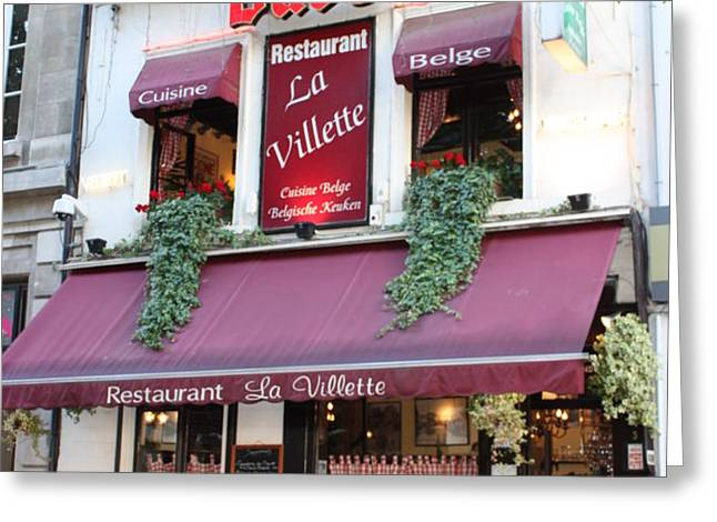 Brussels - Restaurant La Villette with Trees Greeting Card by Carol Groenen